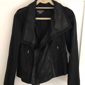 Black Vince linen and leather Moto Jacket